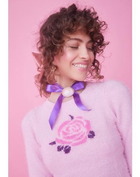 Secret Garden Rose Intarsia Sweater