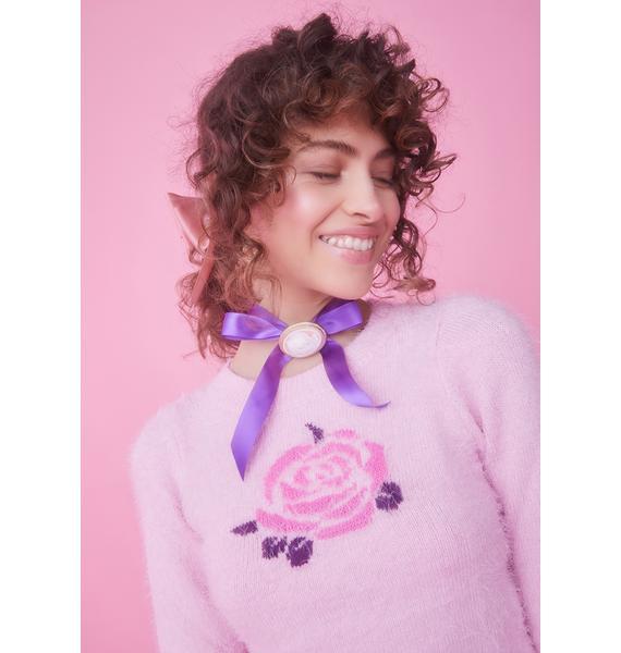 Sugar Thrillz Secret Garden Rose Intarsia Sweater