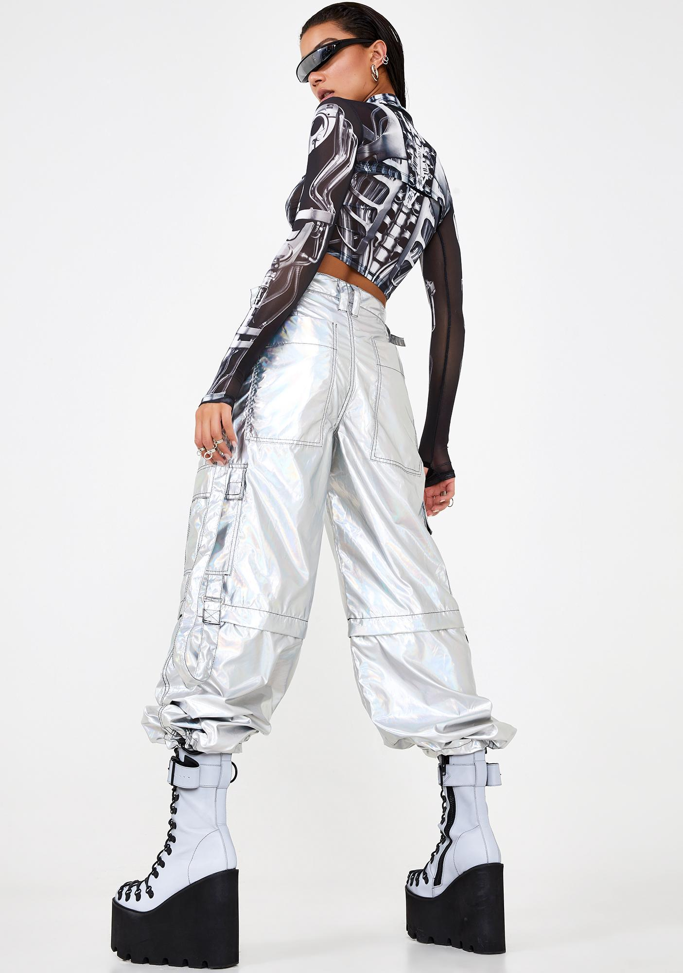 Club Exx Rave Action Holographic Cargo Pants