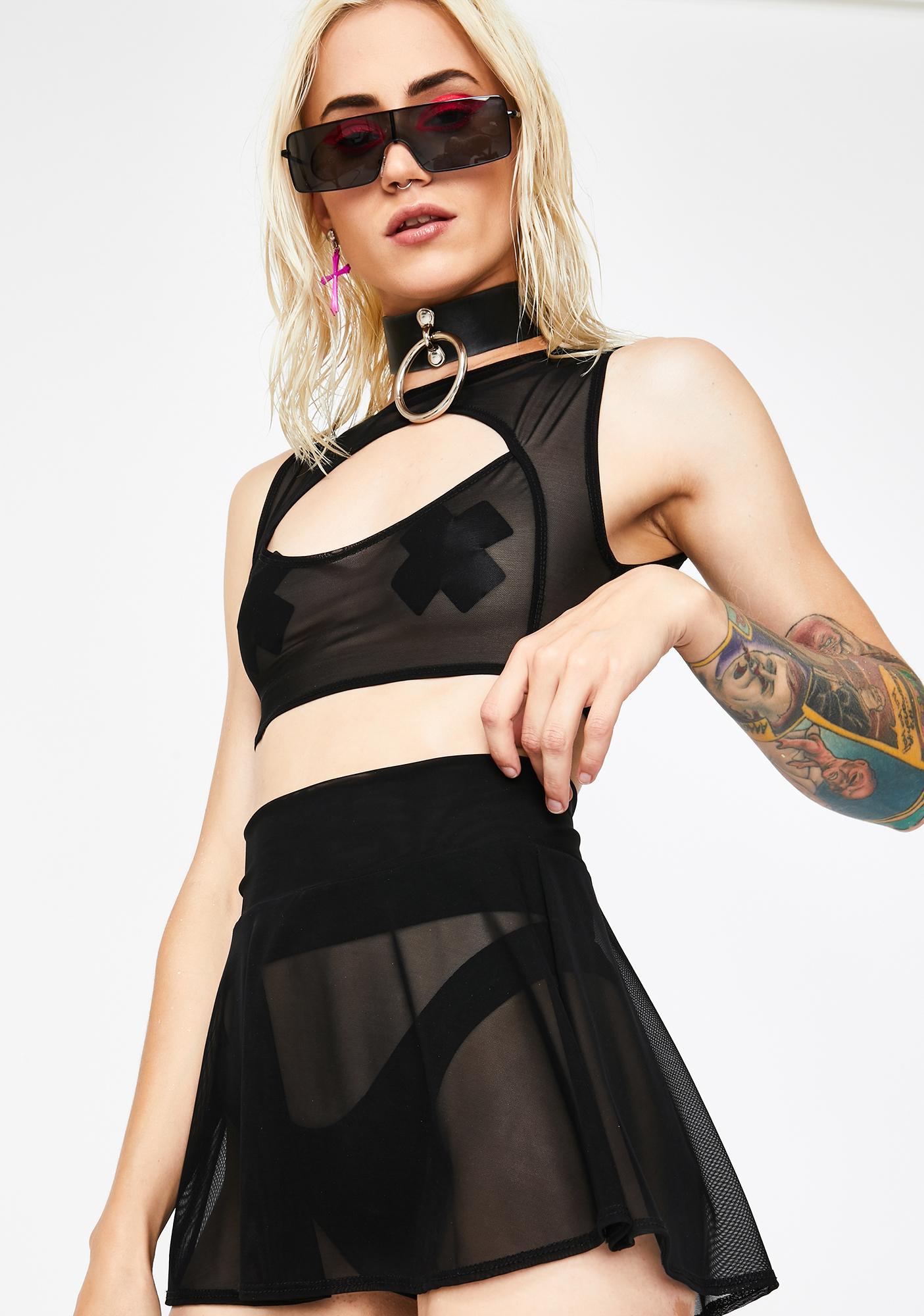 J Valentine Black Mesh Skater Skirt