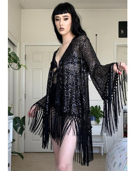 Black Knit Sequin Cruise Kimono Jacket