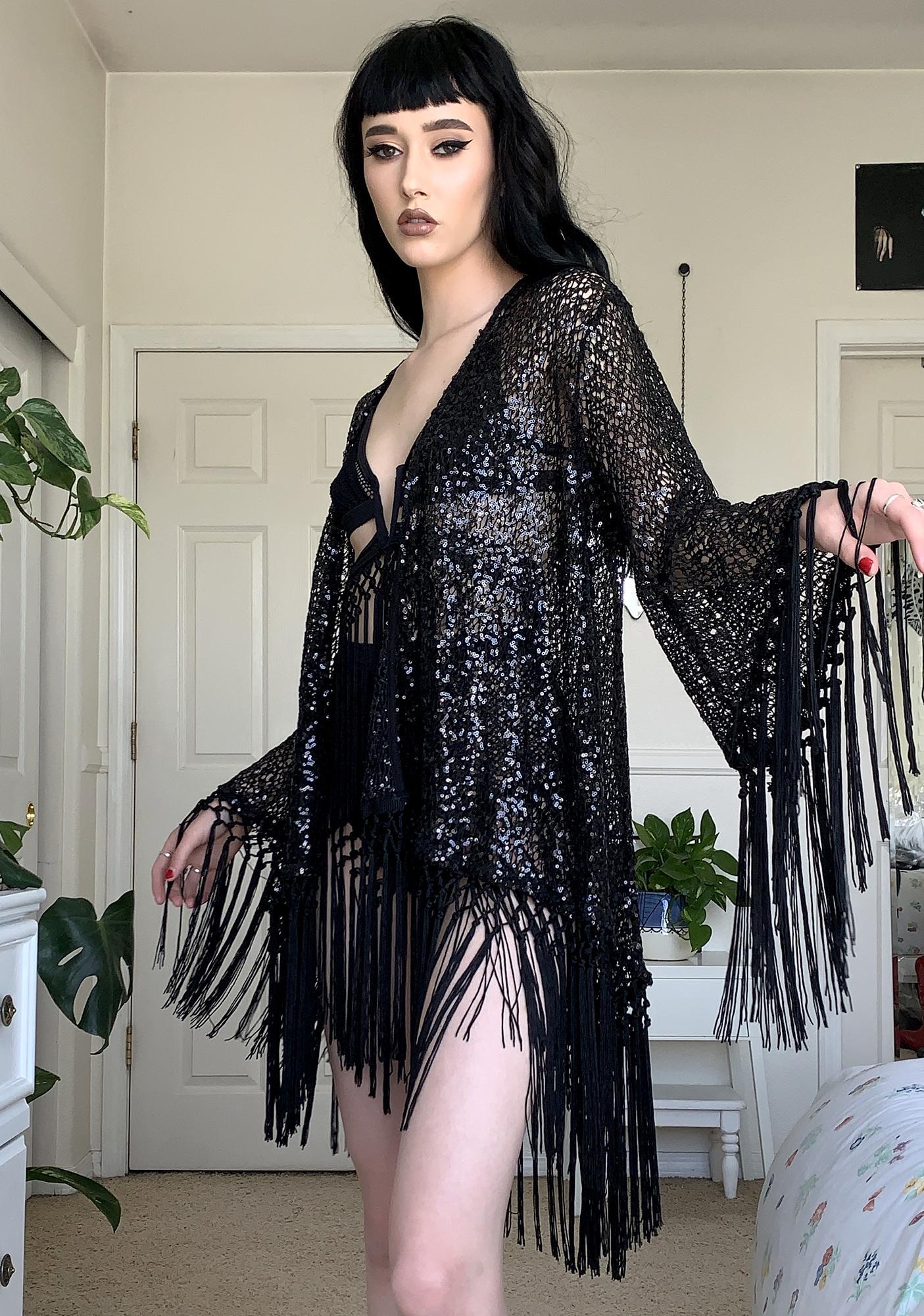 EastnWest Black Knit Sequin Cruise Kimono Jacket