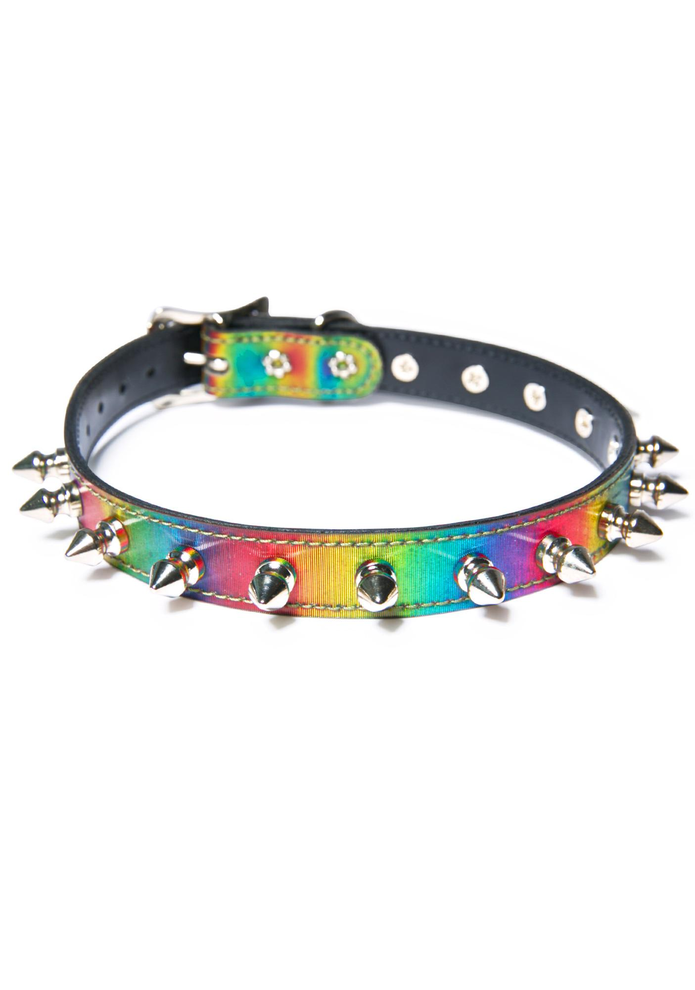 Rainbow Spiked Out Choker
