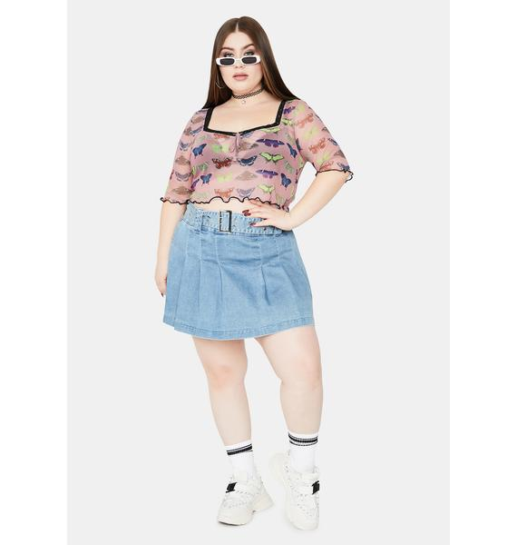 NEW GIRL ORDER Curve Mesh Butterfly Top