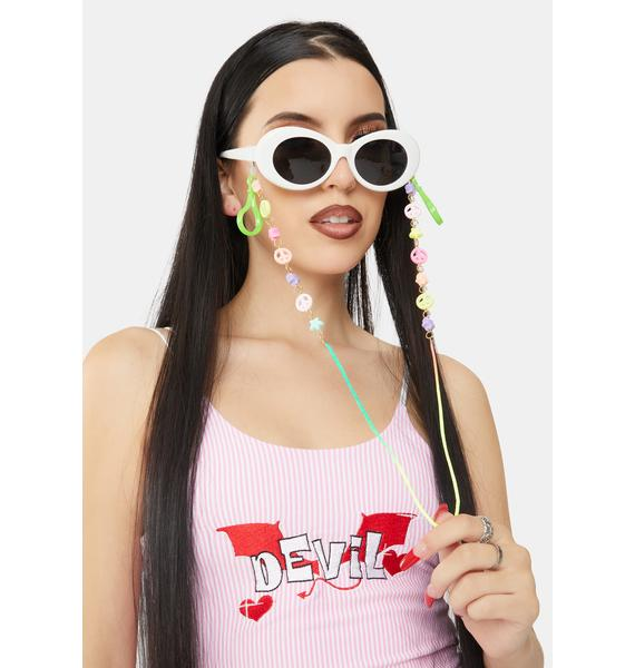 Groovy Galaxy Sunglasses And Face Mask Chain