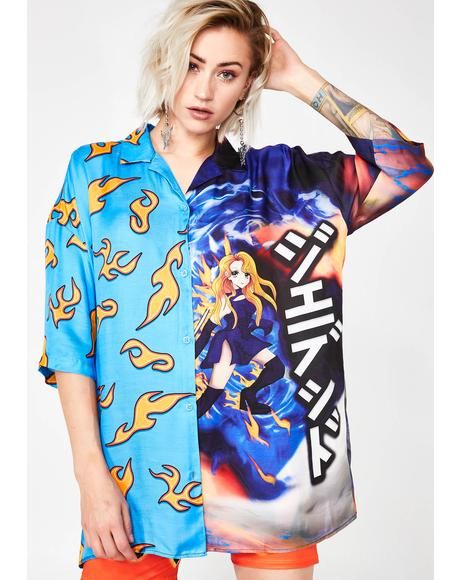 Half Flame Half Anime Printed Shirt