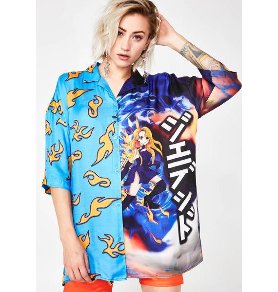 Jaded London Half Flame Half Anime Printed Shirt