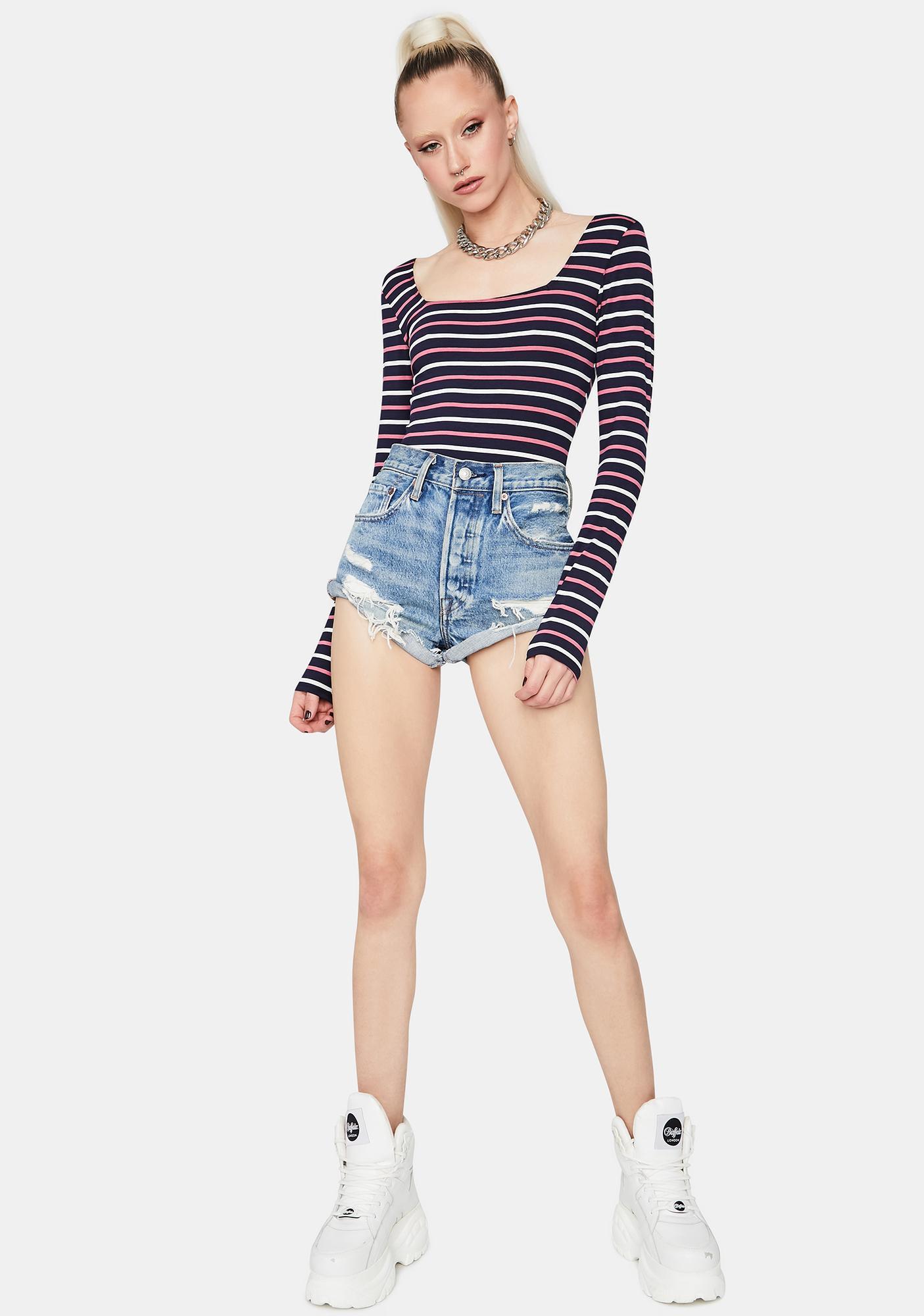 Navy Let Me Know Striped Bodysuit