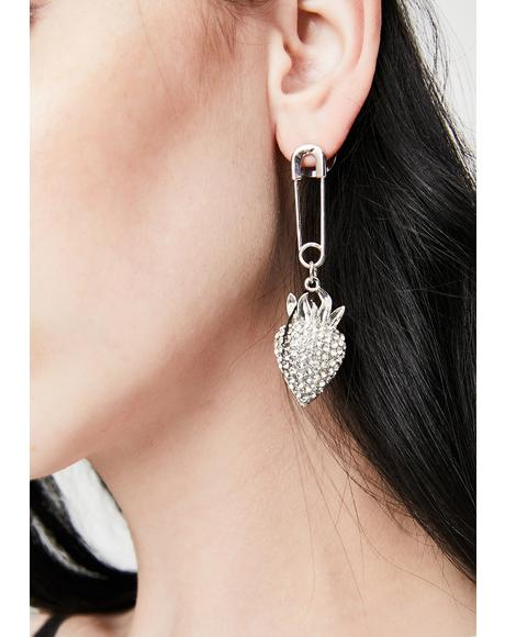 Dangerous Charm Safety Pin Strawberry Earrings