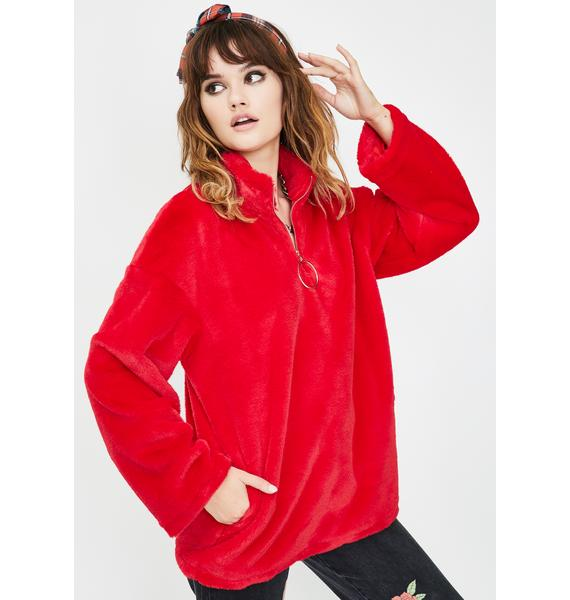 Daisy Street Red Faux Fur Zip Up Sweater