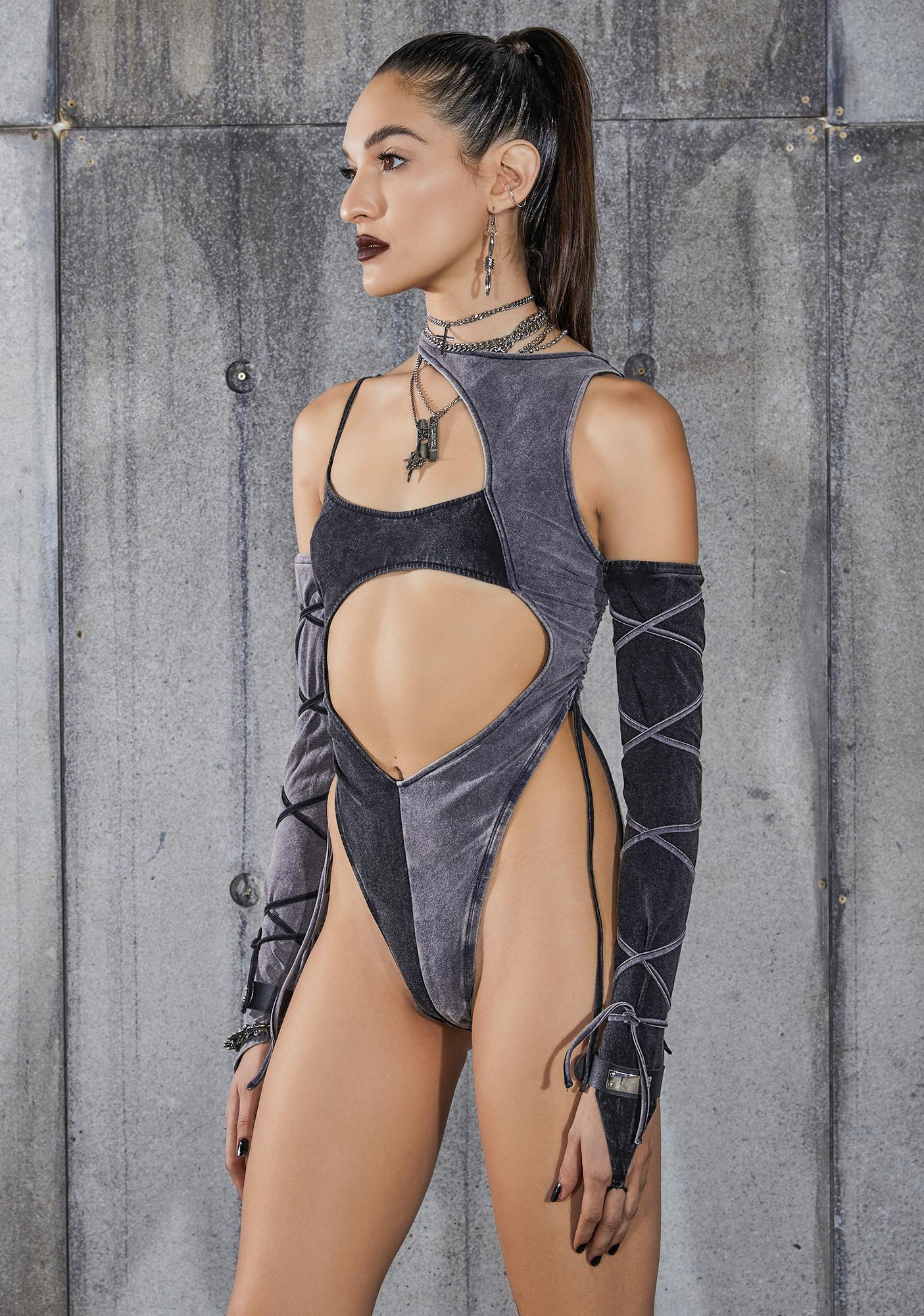 DARKER WAVS Snare Two-Tone Asymmetric Bodysuit And Gloves Set