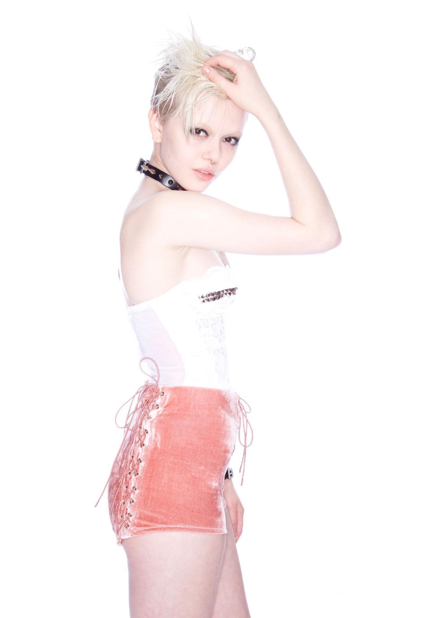 UNIF Mauve Velvet Corset Shorts
