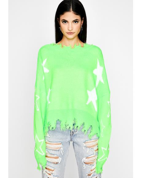 Trip Thru Space Distressed Sweater