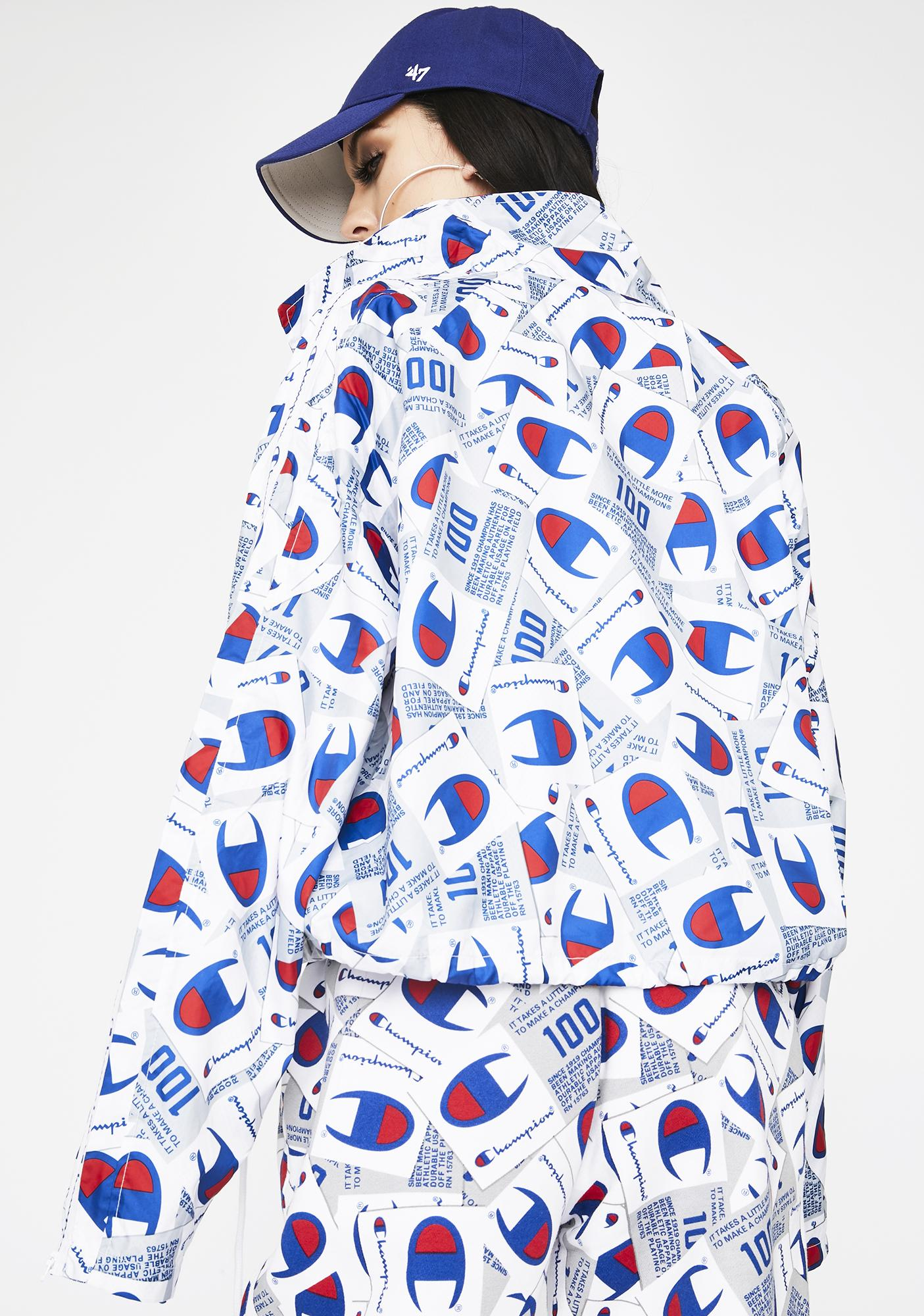 Champion Scatter Mix Zipper Tape Cropped Coaches Jacket