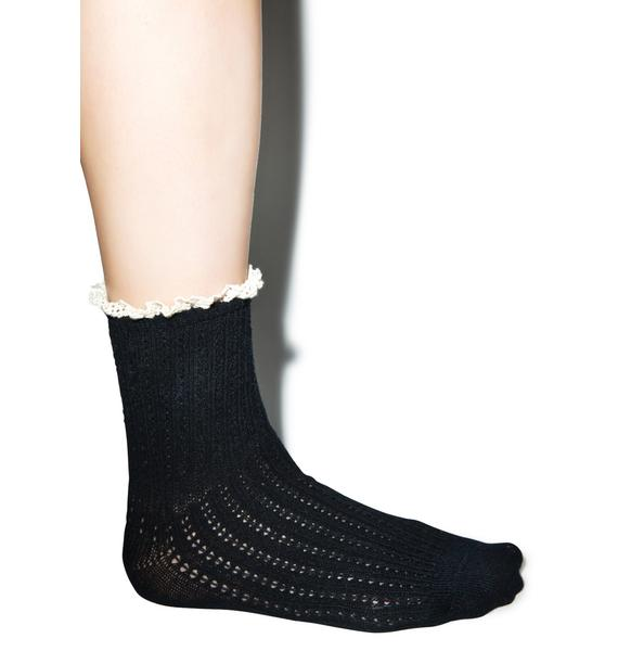 Lavish Lace Crew Socks