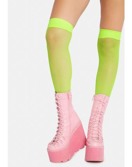 Lime Dare It Spandex Fishnet Thigh Highs