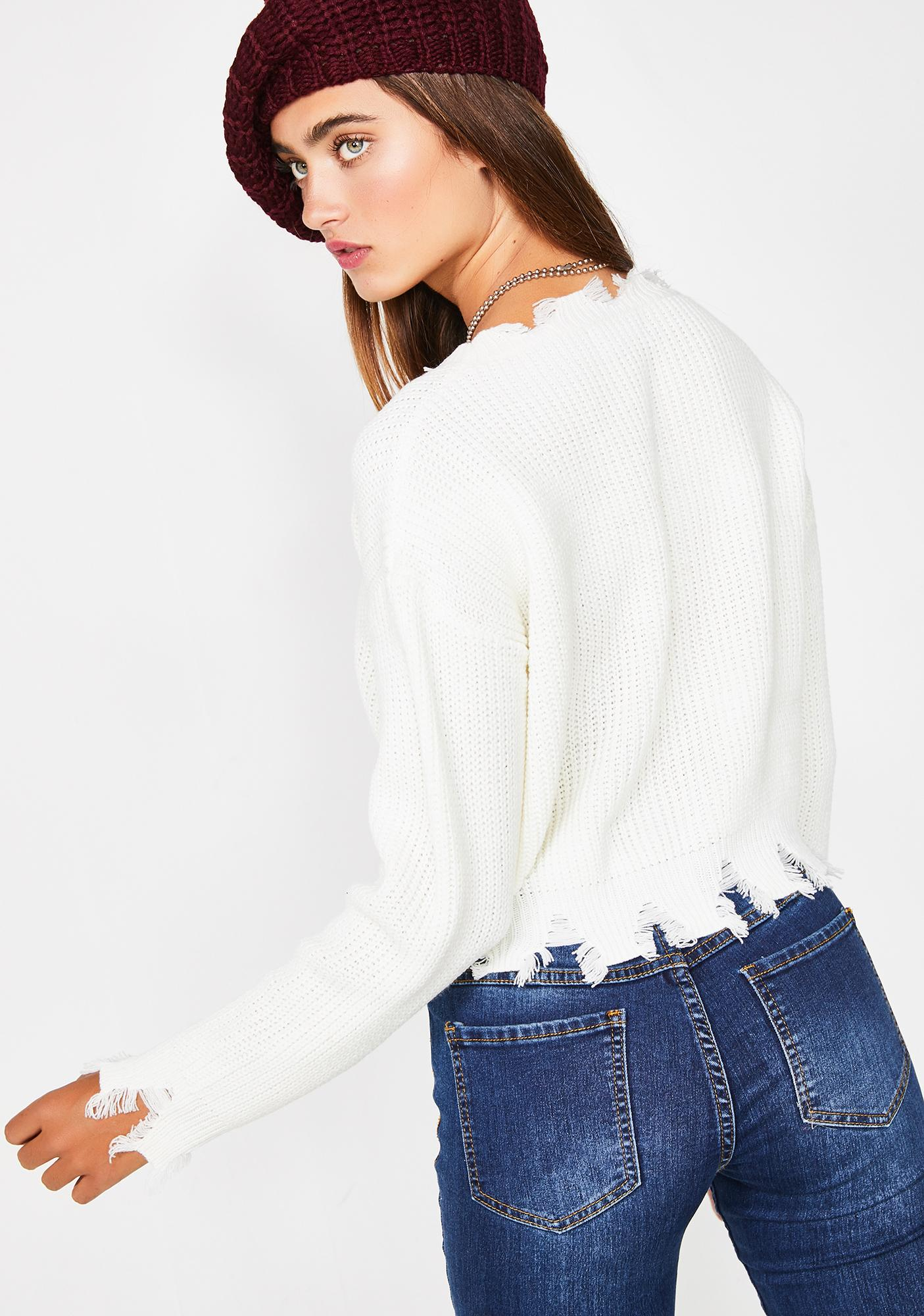 Icy No Priorities Cropped Sweater