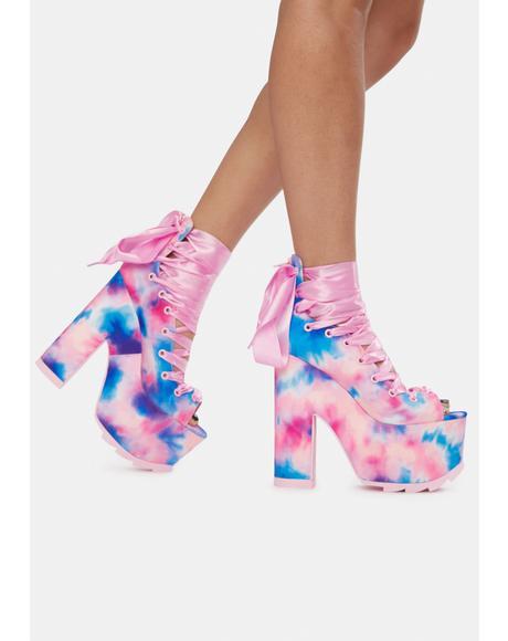 Pink Tie Dye Ballet Bae Platform Heels