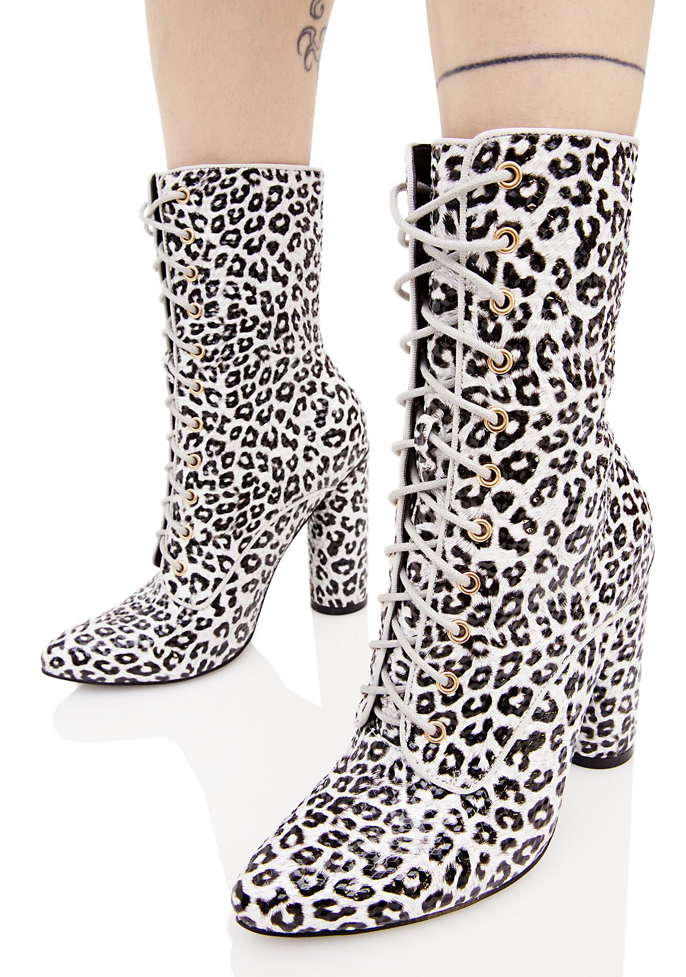 Leopard Texture Lace Up Boots