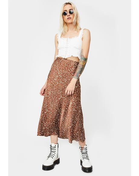 Brown Floral Satin Midi Skirt