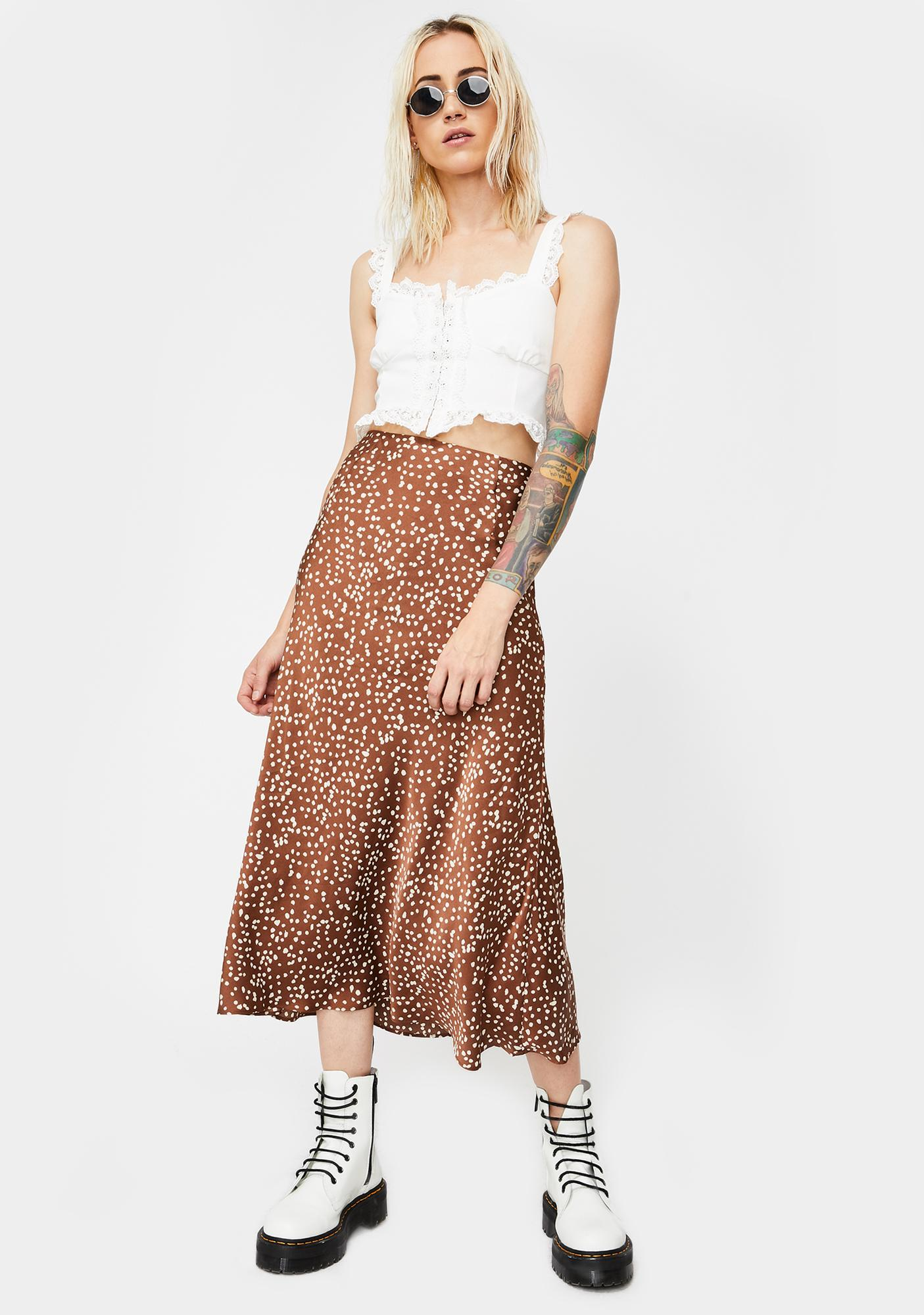 Glamorous Brown Floral Satin Midi Skirt