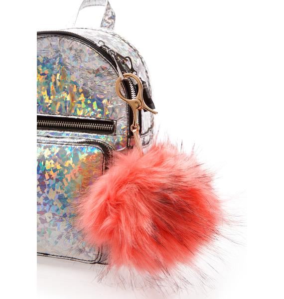 BB Gurl Peach Furry Pom Keychain