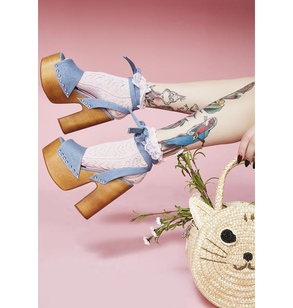 Sugar Thrillz Serve Sass Denim Wrap Sandals
