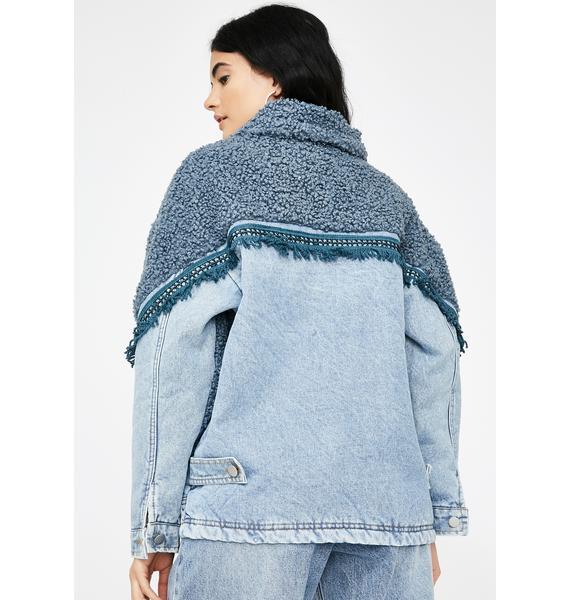 ZEMETA Denim Shearling Jacket