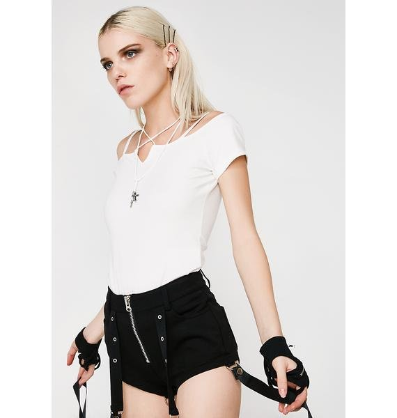Punk Rave Goth Off The Shoulder Tee
