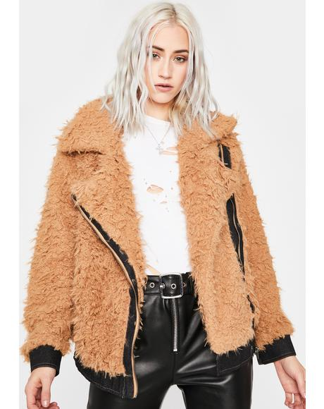 Caramel New Adventure Fuzzy Moto Jacket