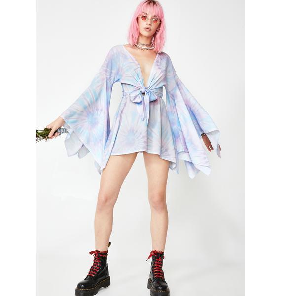 NEW GIRL ORDER Tie Dye Bell Sleeve Dress
