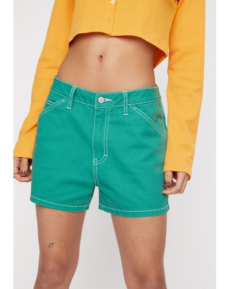 Green High Rise Carpenter Shorts