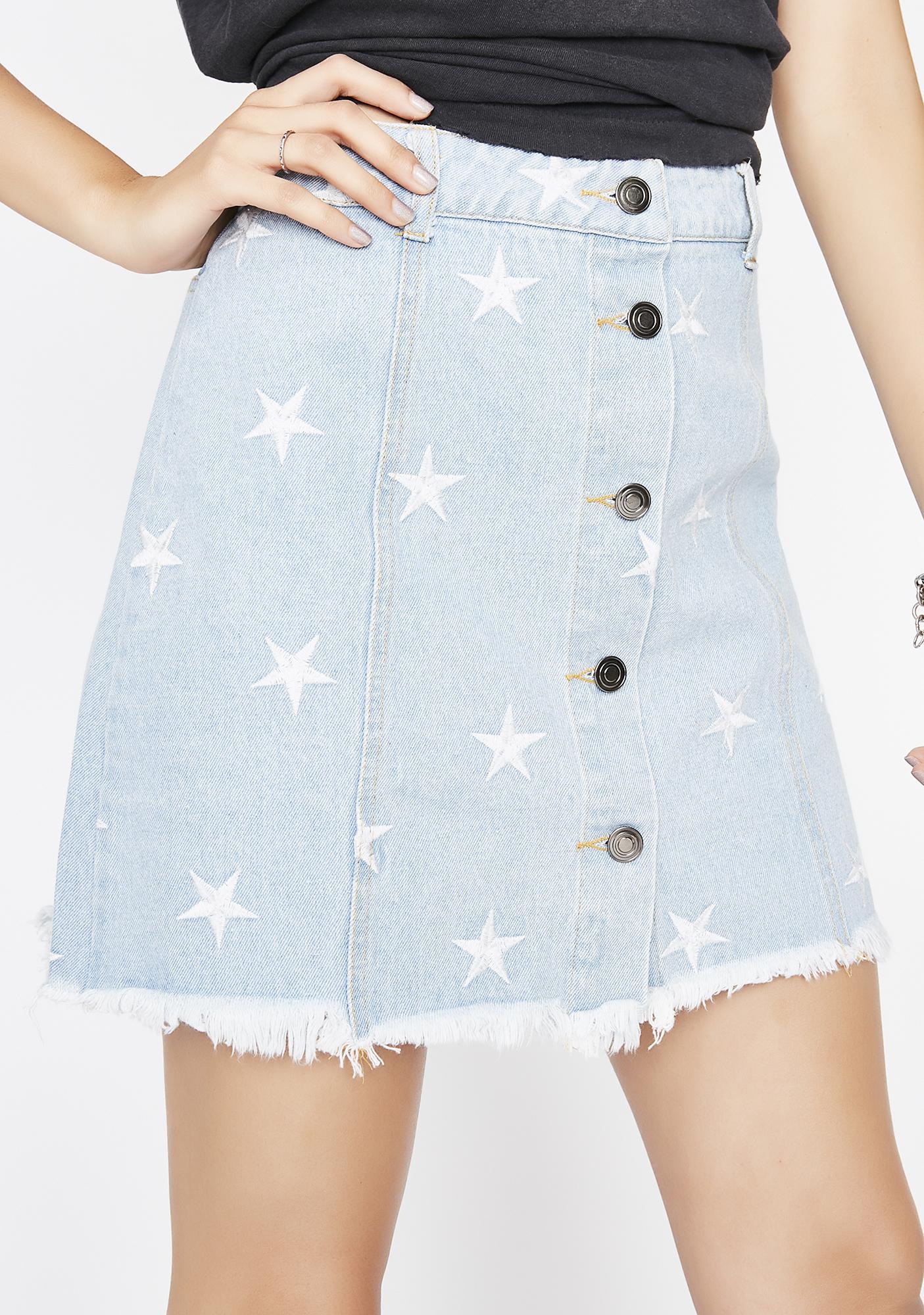 Beaming Bright Denim Skirt
