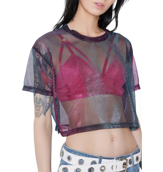 All That Shimmer Iridescent Crop Top