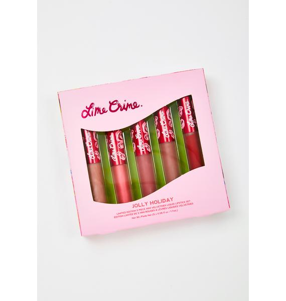 Lime Crime Jolly Holiday 5-Piece Mini Velvetines Set