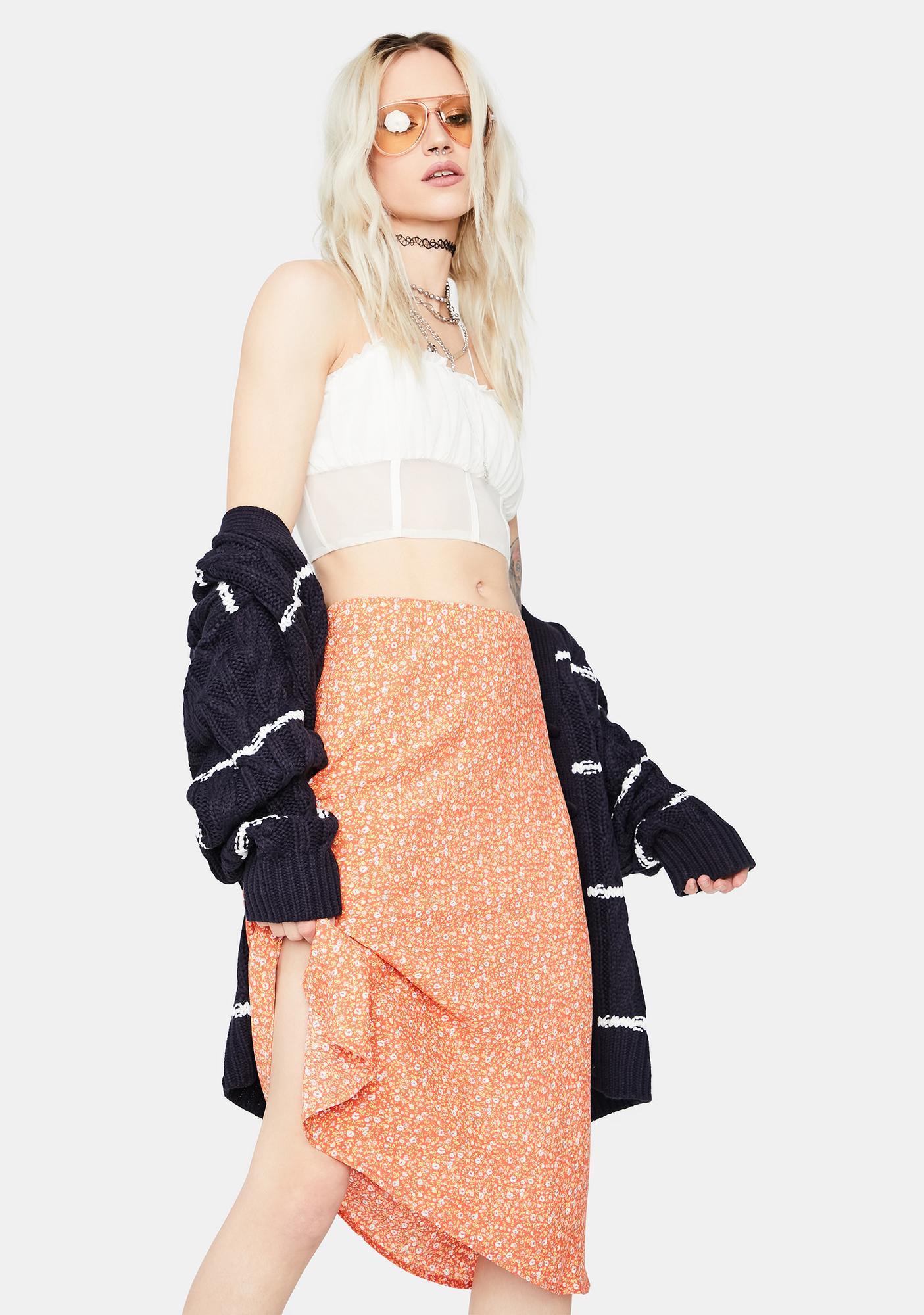 Going Steady Floral Midi Skirt