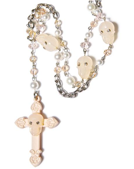 Don't Cross Me Rosary Necklace
