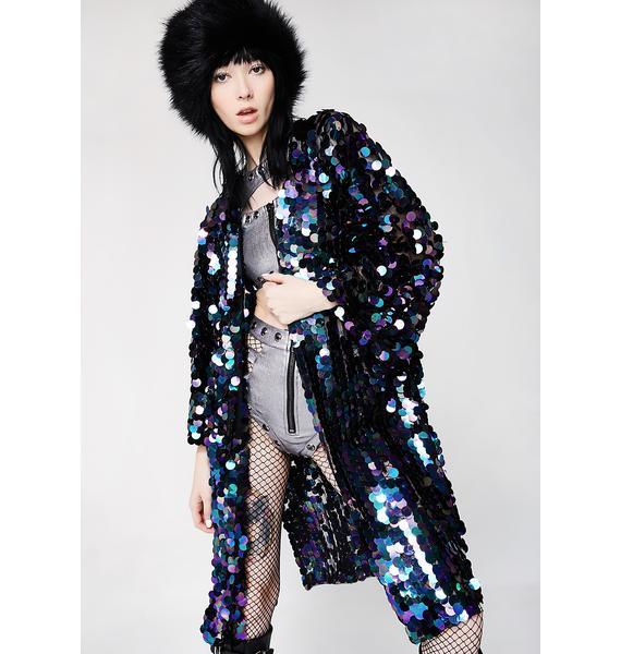 Club Exx Oil Slick Glimmer Goddess Sequin Kimono