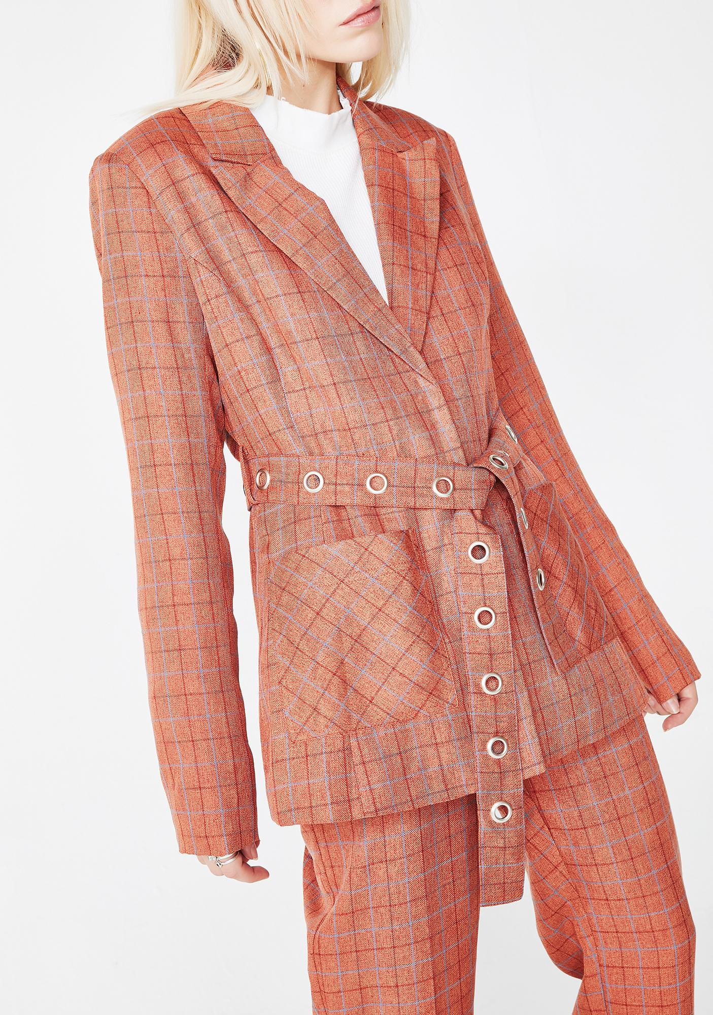 Honey Punch Dirty Business Plaid Blazer