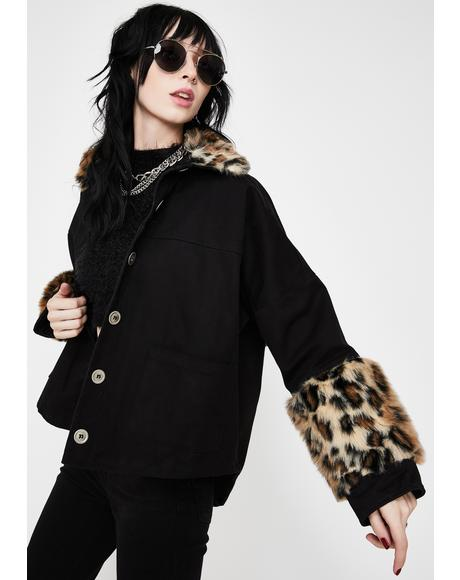 Leopard Fur Trim Denim Jacket