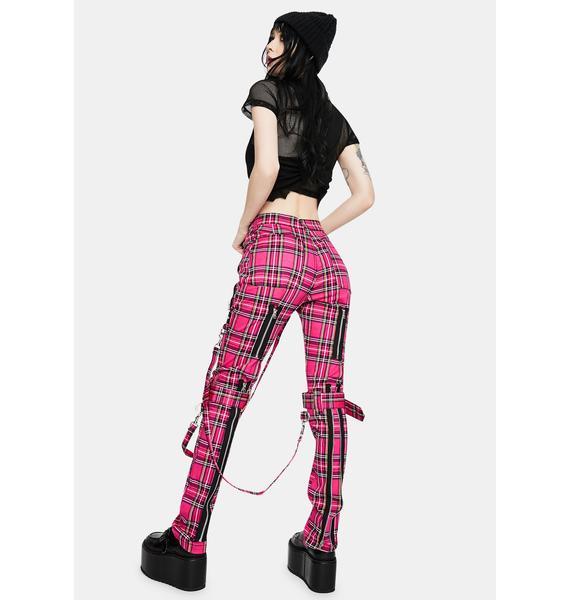 Tripp NYC Neon Pink Plaid Bondage Pants