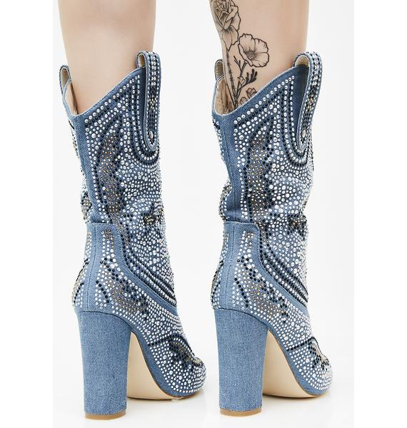 Denim Sharpshootin' Sweetie Studded Cowboy Boots