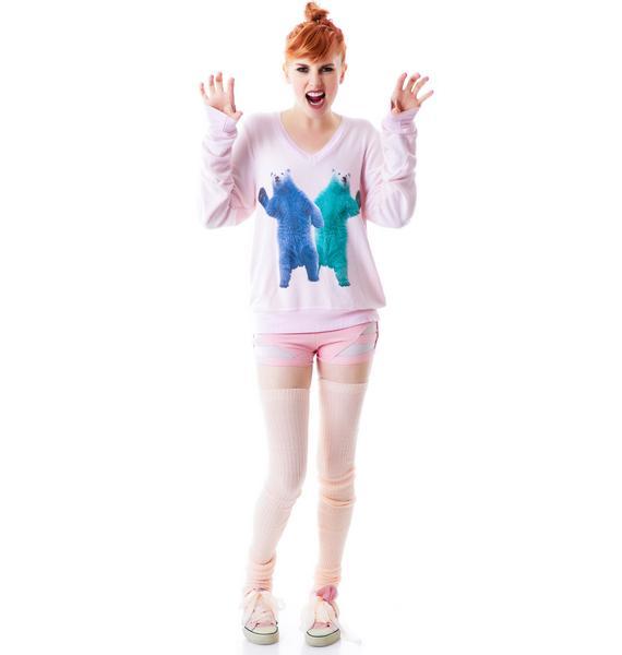 Wildfox Couture Hello Polar Bears V-Neck Baggy Beach Jumper