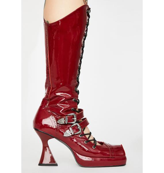 No Dress Bloody Lace Up Leather Boots