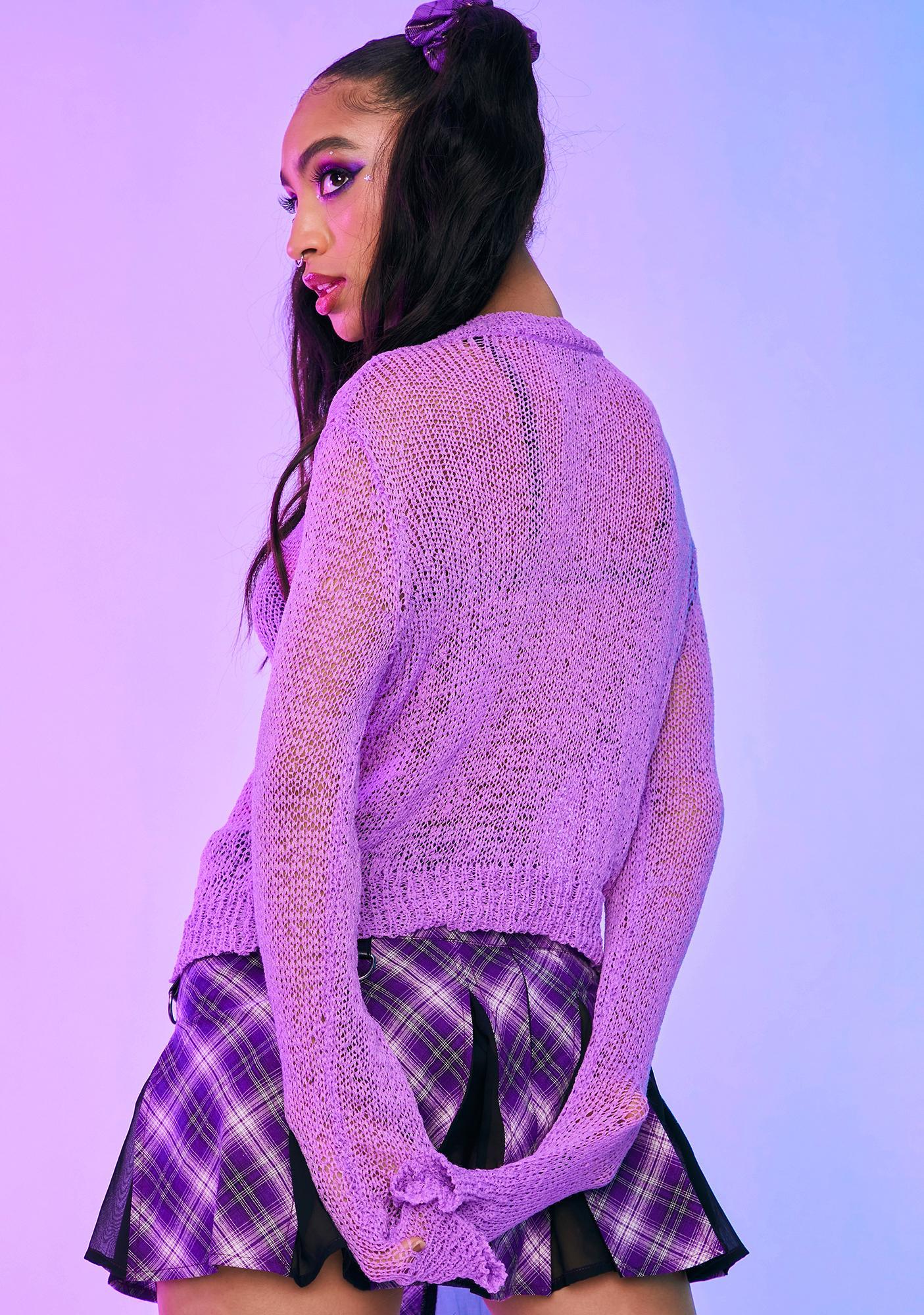 HOROSCOPEZ E-Girl For Life Open Knit Sweater