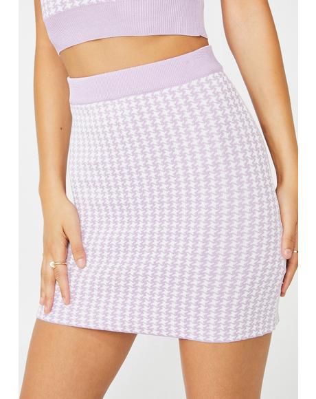 Houndstooth Knit Skirt