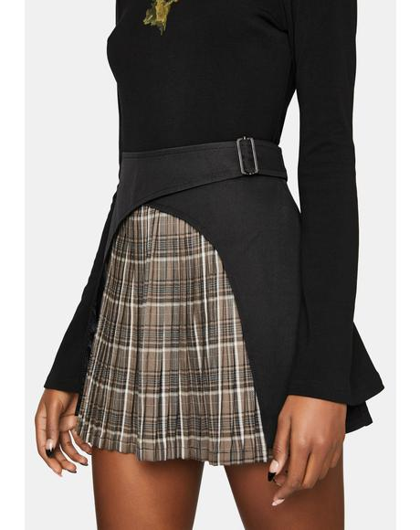Paneled Wrap Pleated Mini Skirt