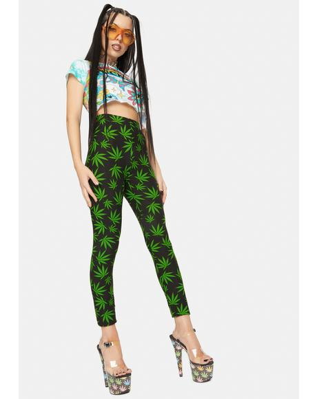 Top Shelf Only Leaf Print Leggings