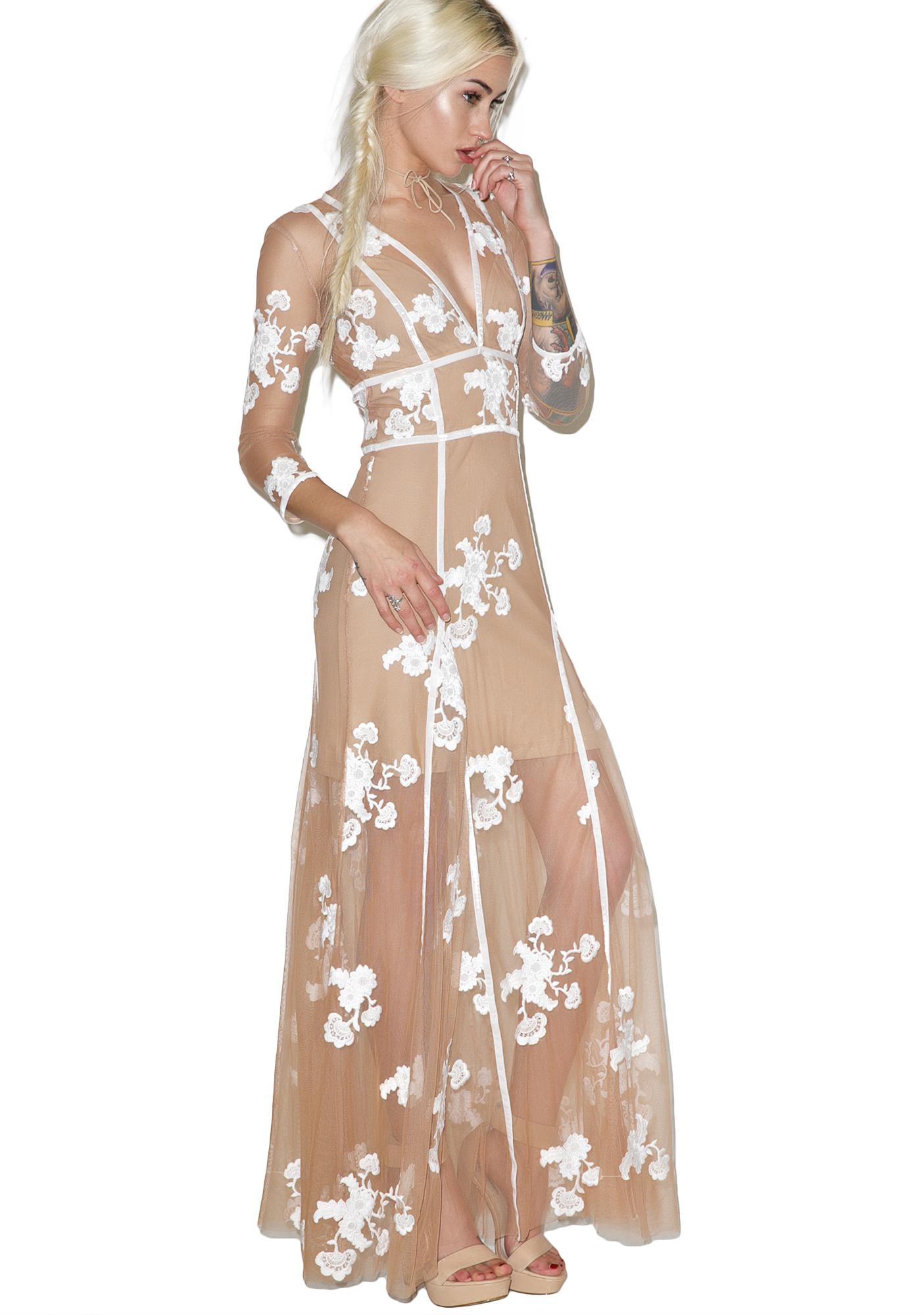 For Love & Lemons Nude Elenora Maxi Dress