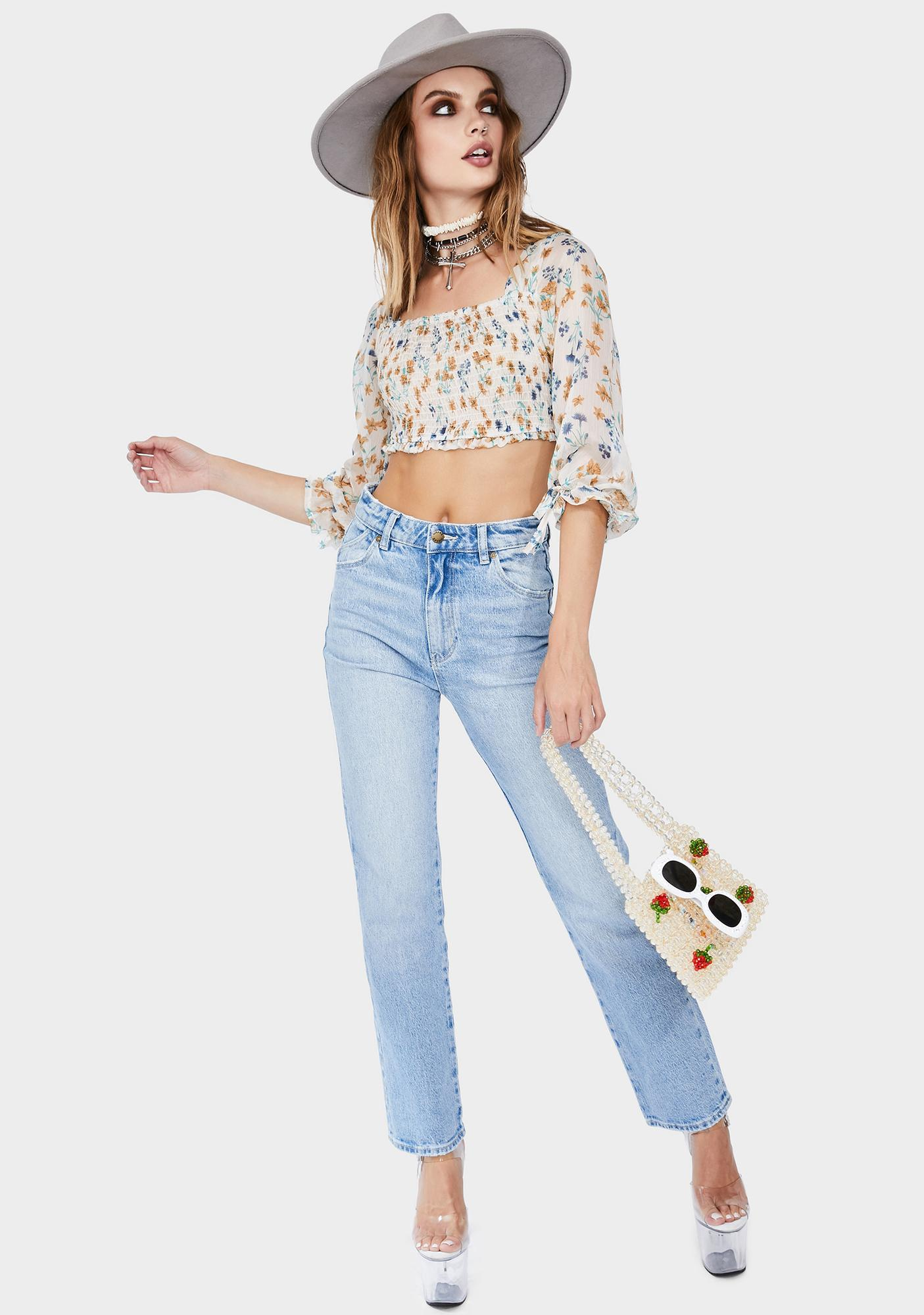 Momokrom Ivory Long Sleeve Floral Crop Top